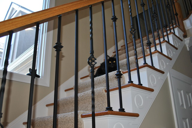 28 wrought iron spindles staircase wood railing with wrough