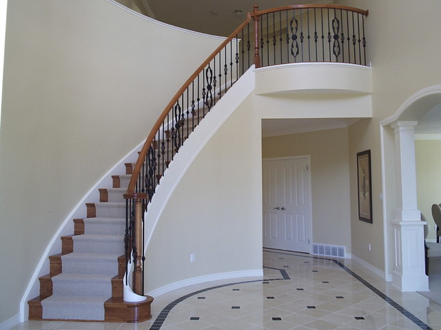 Wrought Iron Balustrade On A Curved Staircase