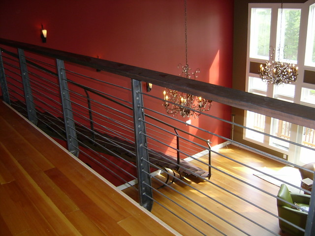 Iron Horizontal Railings Contemporary Staircase
