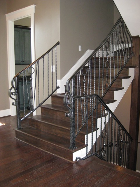 Wrought iron interior railing american landmark homes - Interior stair railing contractors ...