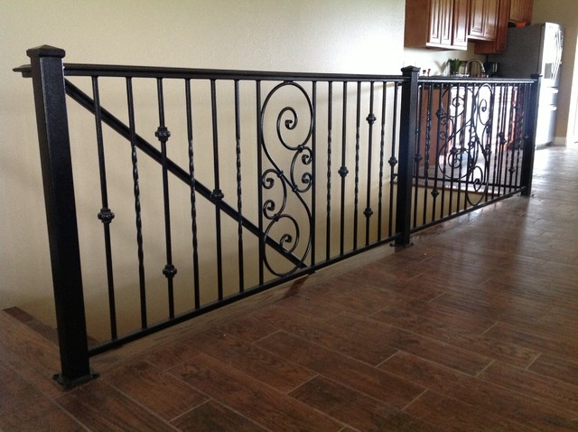 Wrought Iron Interior Railing Louisville Tn Transitional Staircase