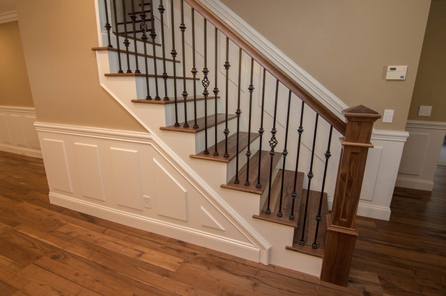 Wrought Iron Open Wood Tread Stairs Traditional