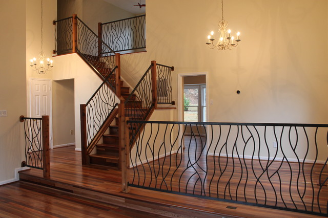 Wrought Iron Railing Artisan Bent Design Eclectic Staircase Calgary By Chrome Dome
