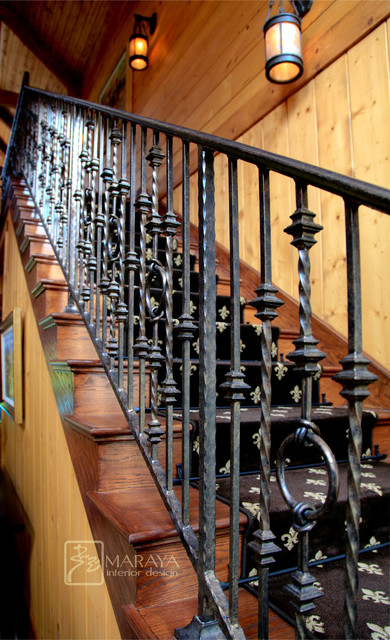 Wrought iron railing rustic staircase santa barbara for Interior iron railing designs