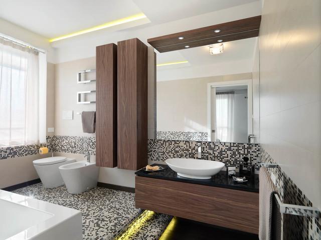 Ejemplo de cuarto de baño principal, contemporáneo, grande, con armarios con paneles lisos, puertas de armario de madera en tonos medios, baldosas y/o azulejos blancas y negros, baldosas y/o azulejos en mosaico, paredes blancas, suelo con mosaicos de baldosas y lavabo sobreencimera