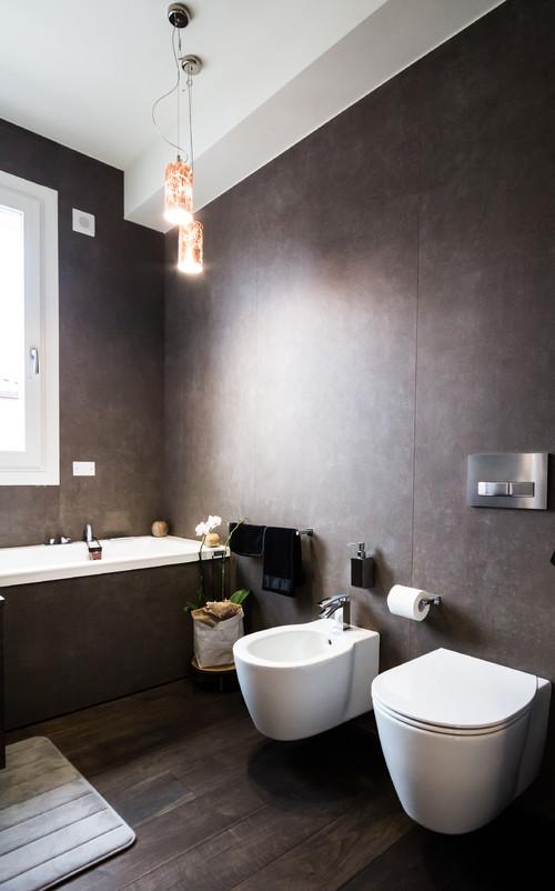 Bagno copia lo stile dei loft newyorkesi - Arredo bagno marrone ...