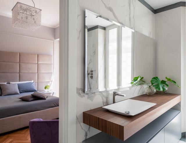 Bagno Padronale Vista Camera Da Letto Lavabo Lei Modern Badezimmer Rom Von Opa Architetti Roma Houzz