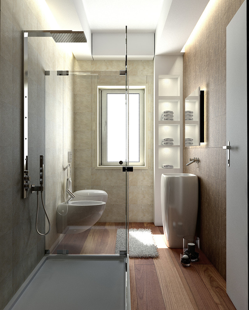 Small trendy 3/4 beige tile medium tone wood floor bathroom photo in Rome with brown walls, a pedestal sink and a wall-mount toilet