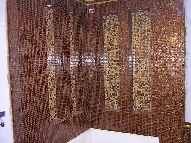 Febland oro mosaico in vetro set da bagno set accessori bagno