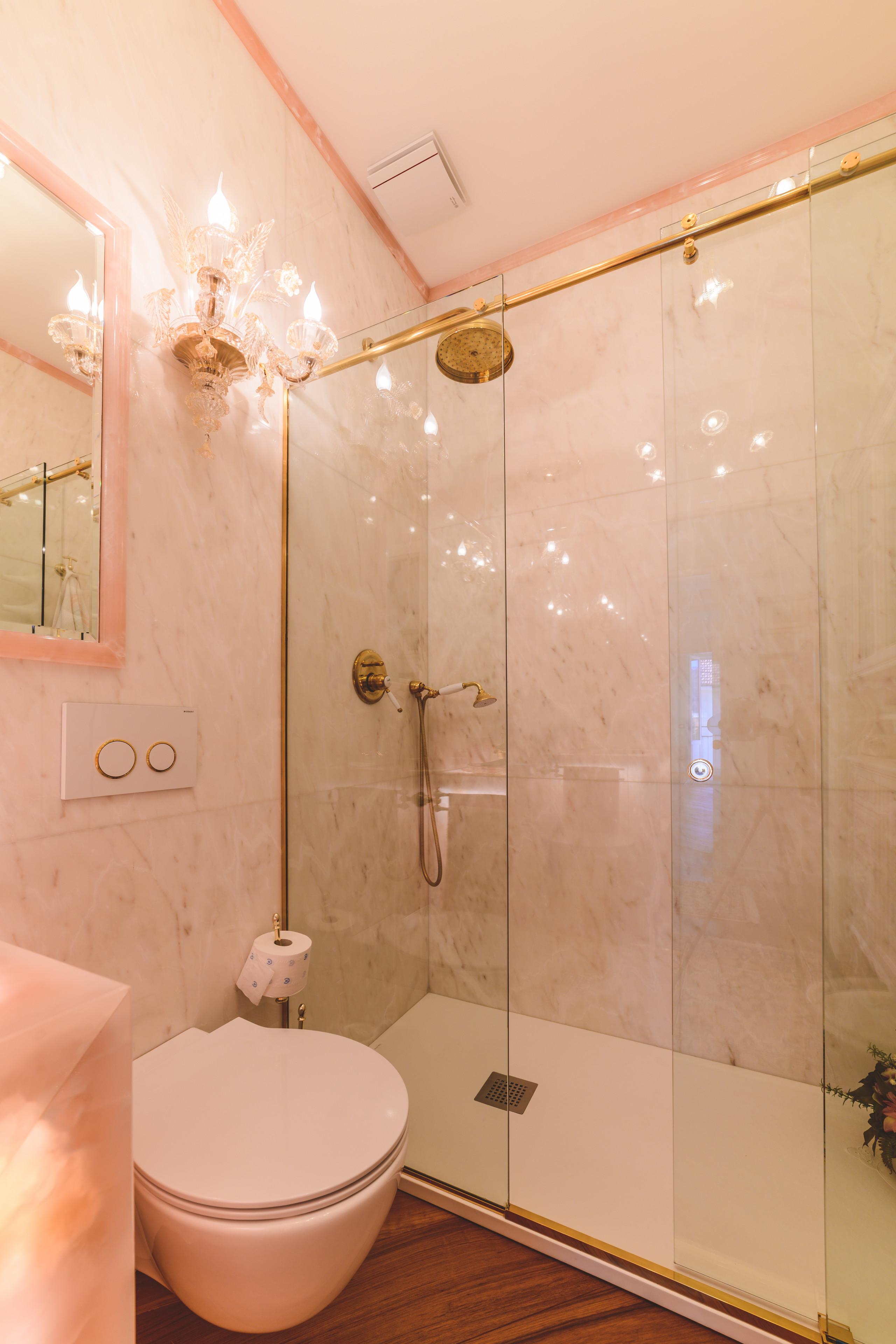 Marmo Rosa Del Portogallo 75 beautiful marble tile bathroom with pink countertops