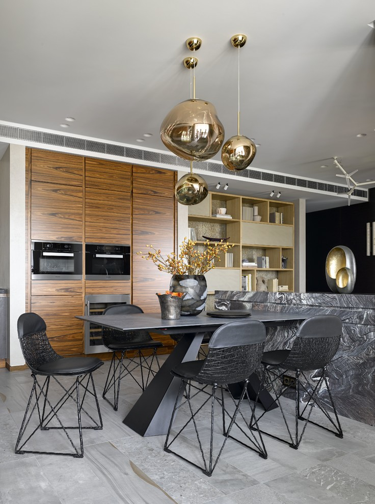Example of a large trendy gray floor dining room design in Moscow with white walls