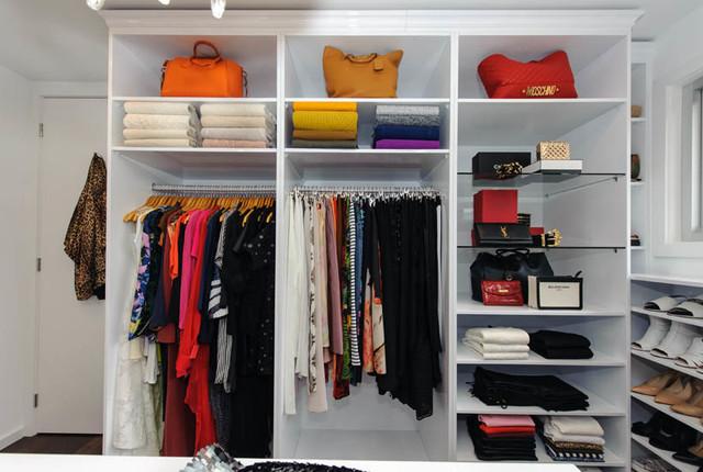 Superb Walk In Wardrobe/Dressing Room Sydney . Glass Shelves For Hand Bag Display  Contemporary