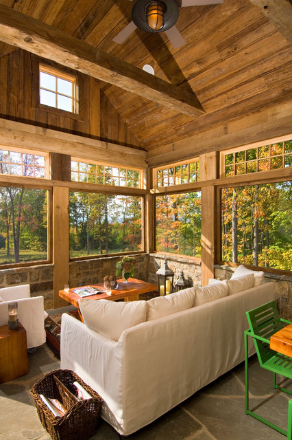 2011 Showcase   Hillside Retreat Rustic Sunroom