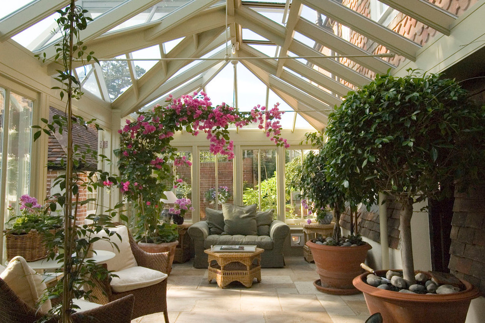 Sunroom - traditional sunroom idea in Chicago with a glass ceiling