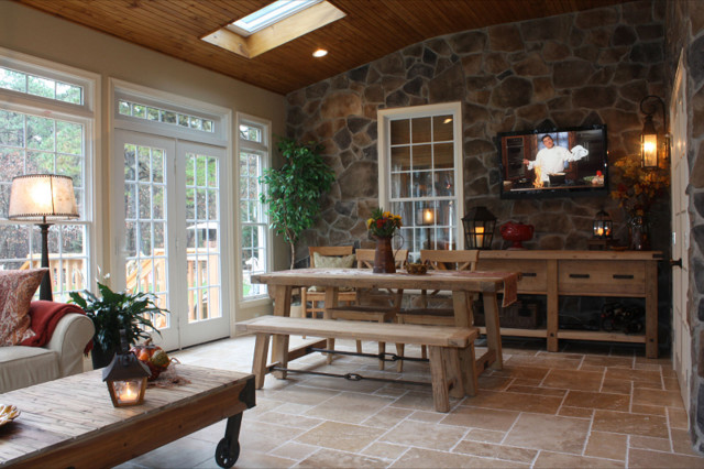 Addition With Rustic Stone Wall Rustic Sunroom Other