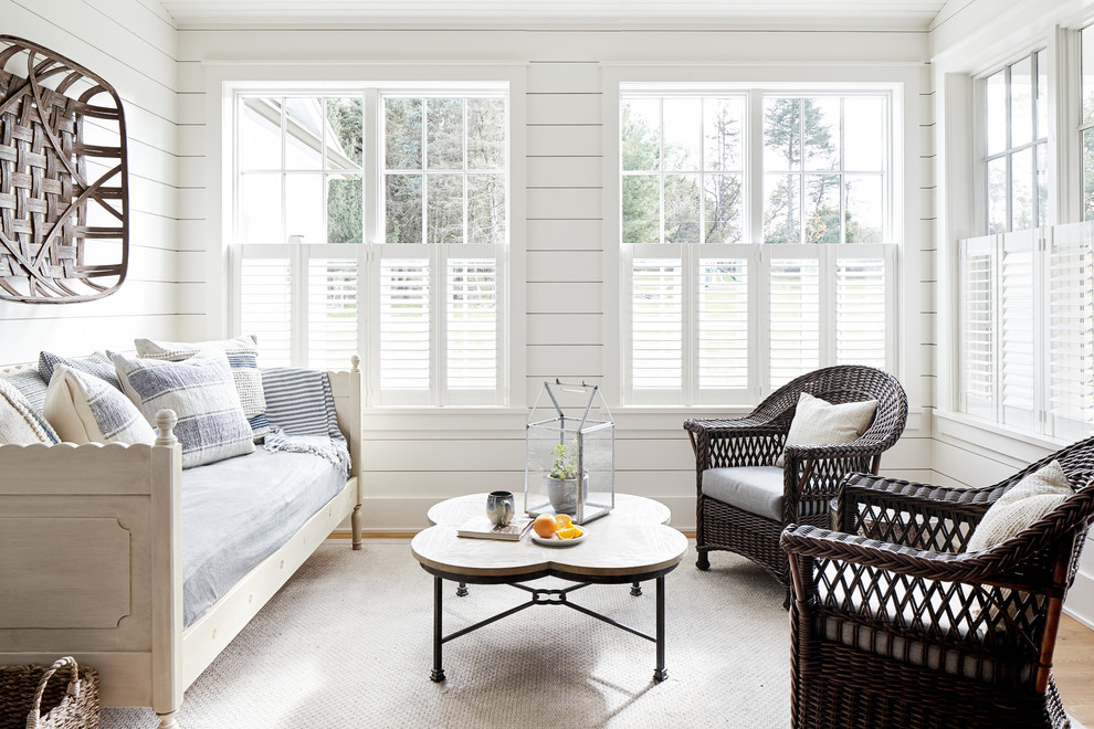 Mid-sized country light wood floor sunroom photo in Philadelphia with a standard ceiling and no fireplace