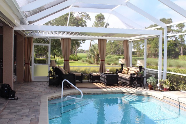 Arcadia louvered roof installed units tropical sunroom tampa - Arcadia Louvered Roof Installed Units Tropical Sunroom Tampa