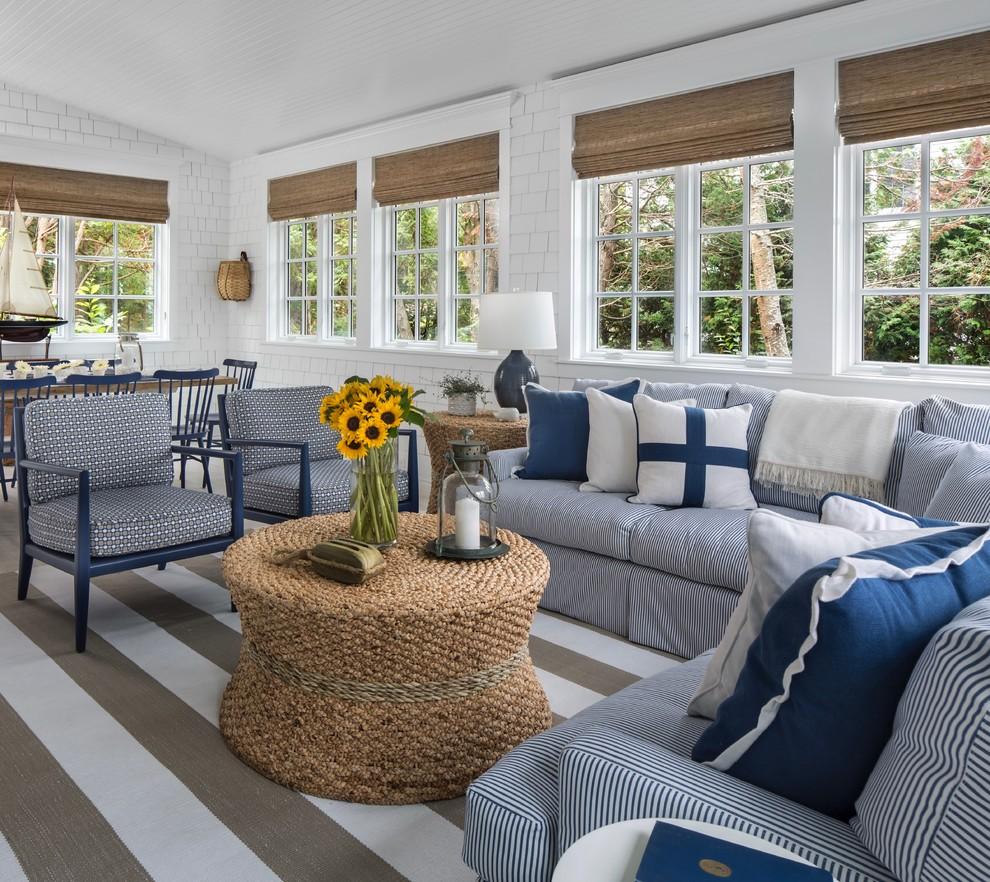 Inspiration for a coastal sunroom remodel in Other with no fireplace and a standard ceiling