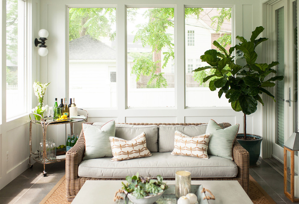 Example of a beach style sunroom design in Detroit with no fireplace
