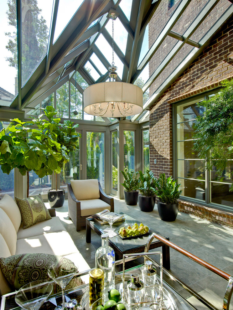 Elegant sunroom photo in Detroit with a glass ceiling