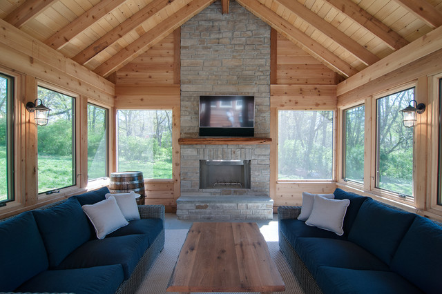 Inspiration for a mid-sized rustic limestone floor and multicolored floor sunroom remodel in Nashville