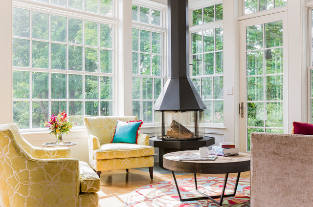 Broad Cove Family Room Fireplace Transitional Sunroom Boston