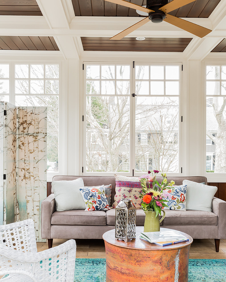 Inspiration for a beach style sunroom remodel in Boston
