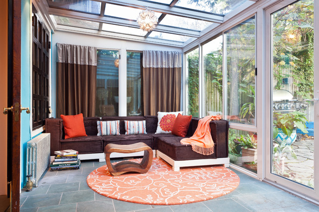 Brooklyn brownstone sunroom eclectic sunroom new for Sunroom curtains