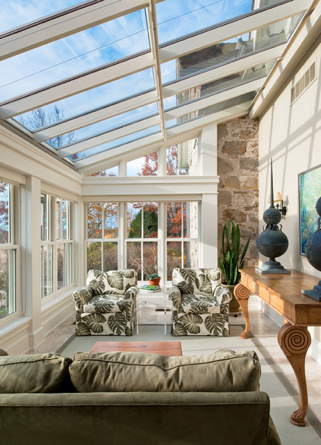 Inspiration for a timeless sunroom remodel in Toronto with a glass ceiling