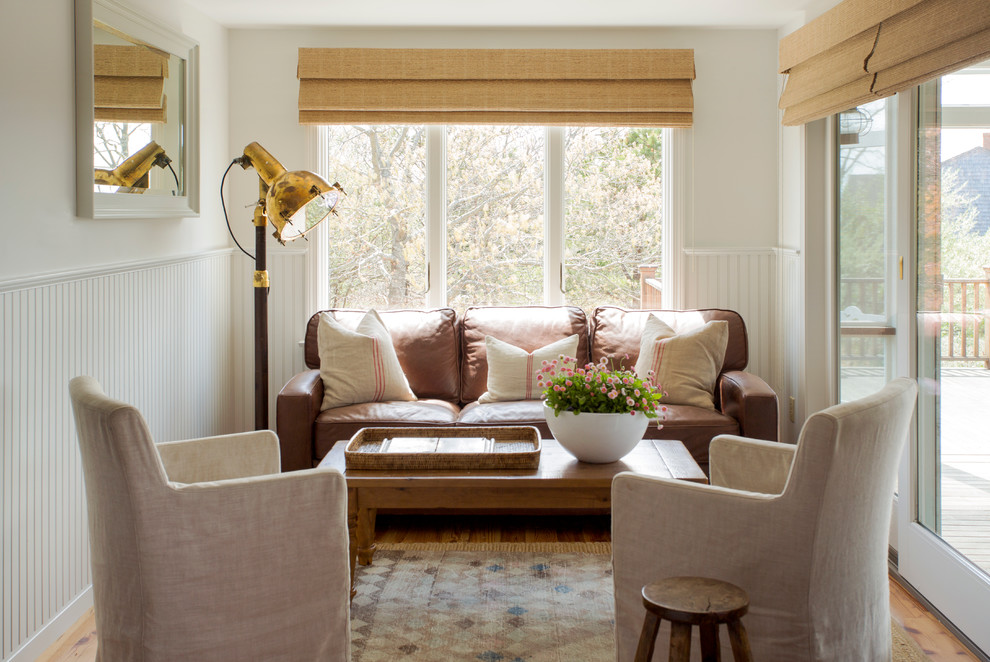 Inspiration for a small beach style light wood floor sunroom remodel in Boston