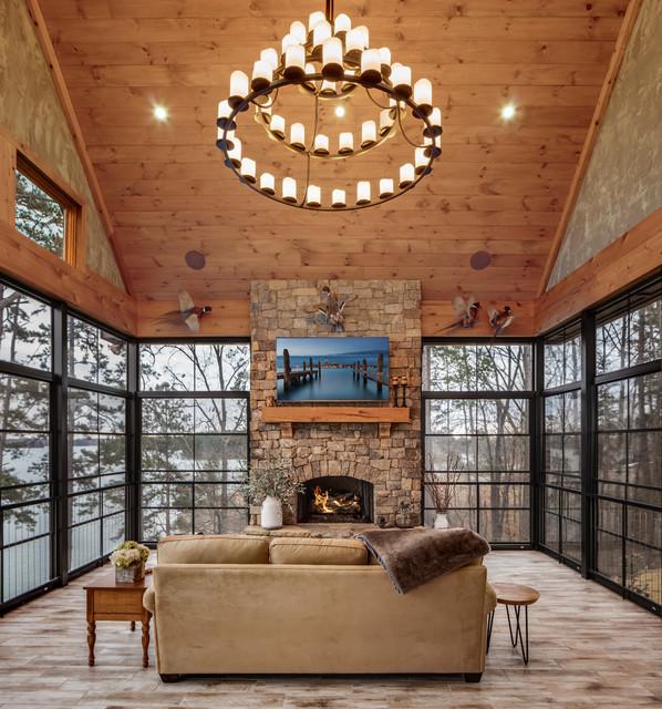 Rustic Sunroom: Classic Lake House Custom Home