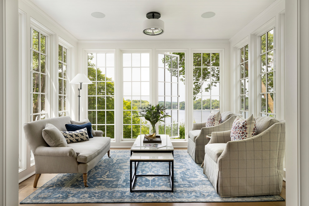 Beach style light wood floor sunroom photo in Minneapolis with no fireplace and a standard ceiling
