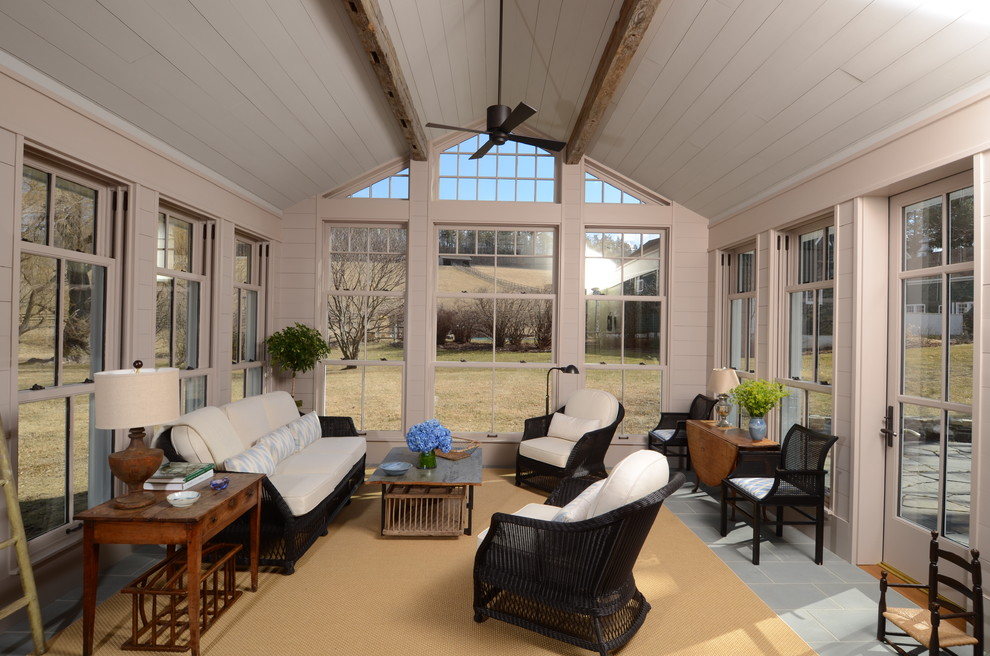 Elegant sunroom photo in New York with a standard ceiling