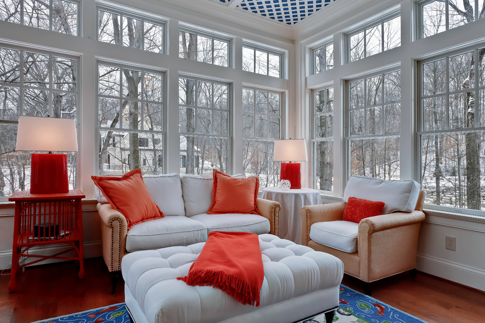 Inspiration for a timeless medium tone wood floor sunroom remodel in Columbus