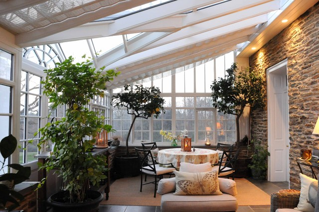 Conservatory lighting houzz example of a large classic slate floor sunroom design in philadelphia with a glass ceiling aloadofball Image collections