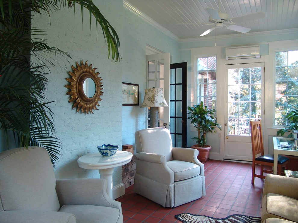 Inspiration for a timeless terra-cotta tile and red floor sunroom remodel in Atlanta with a standard ceiling