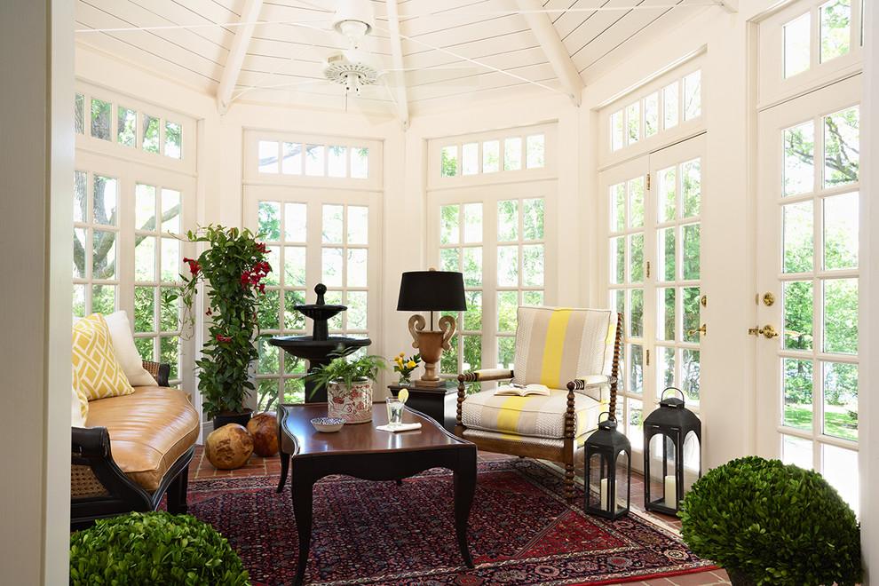 Sunroom - traditional brick floor sunroom idea in Minneapolis with a standard ceiling