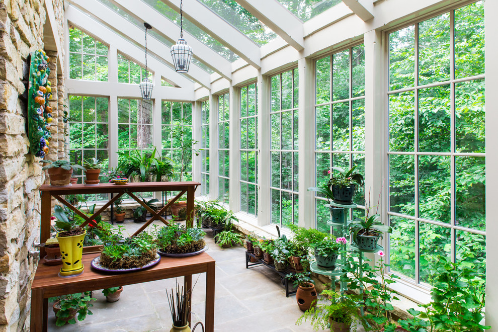 Inspiration for a timeless sunroom remodel in Other with a glass ceiling