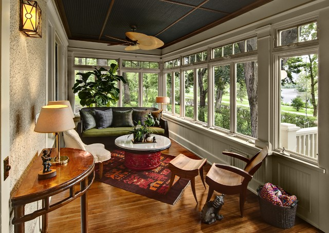 Front Porch on Lake of the Isles traditional-sunroom