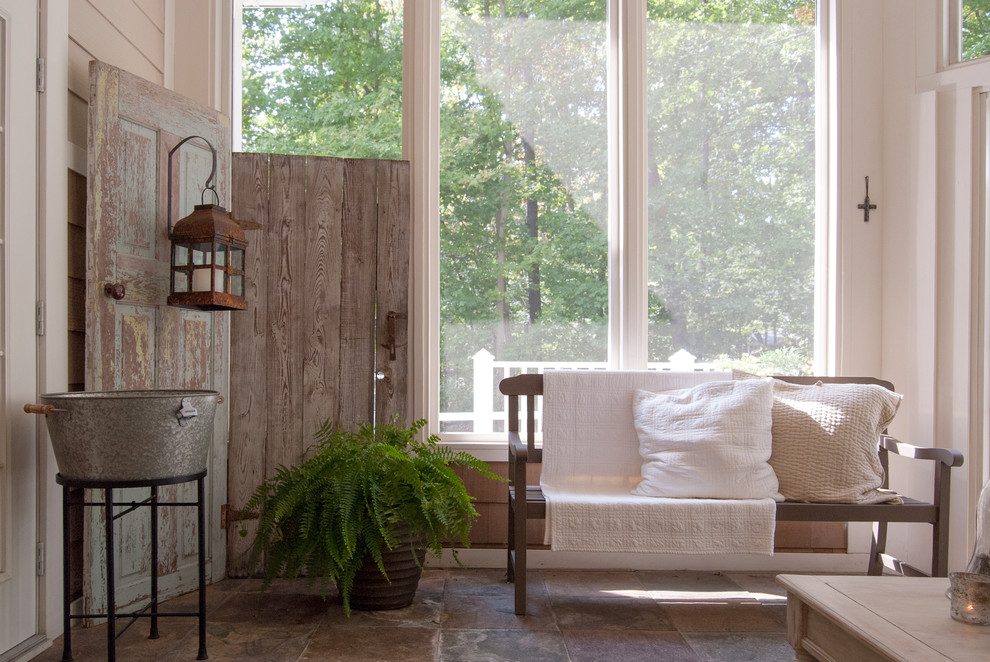 Inspiration for a shabby-chic style sunroom remodel in Cincinnati with no fireplace