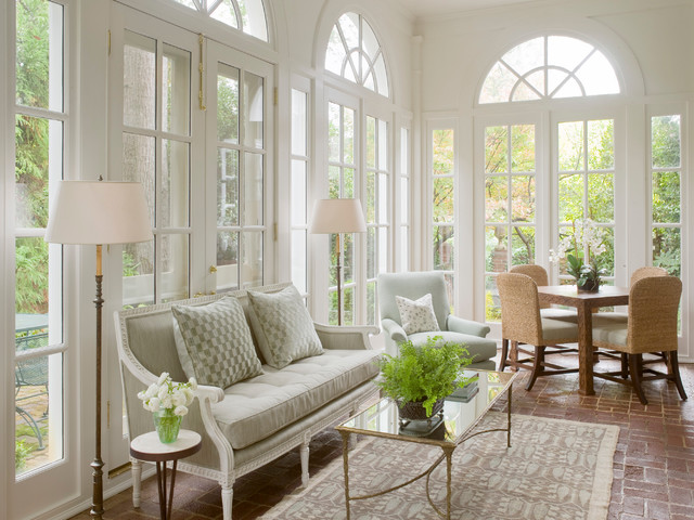 Example of a large classic brick floor and red floor sunroom design in Atlanta with a standard ceiling