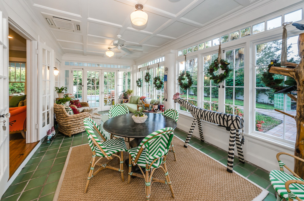 Transitional sunroom photo in Tampa