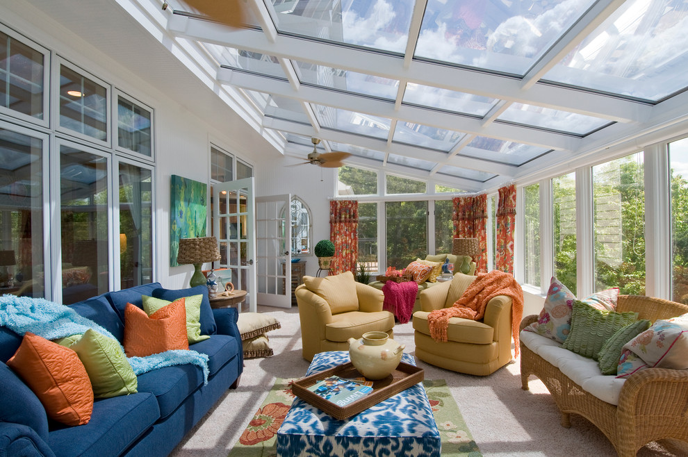 Mid-sized elegant carpeted and beige floor sunroom photo in St Louis with a glass ceiling
