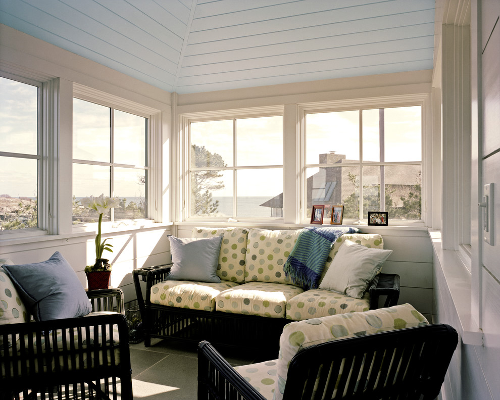 Inspiration for a coastal sunroom remodel in Boston with a standard ceiling