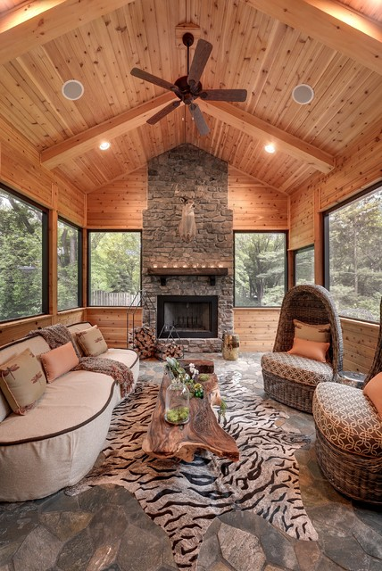 Attractive House On The Hill Rustic Sunroom