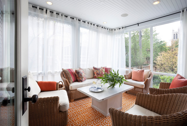 Sunroom Transitional Orange Floor Idea In Chicago With A Standard Ceiling