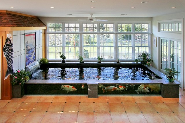 Indoor koi pond asian sunroom new york by barlo for Indoor fish pond ideas