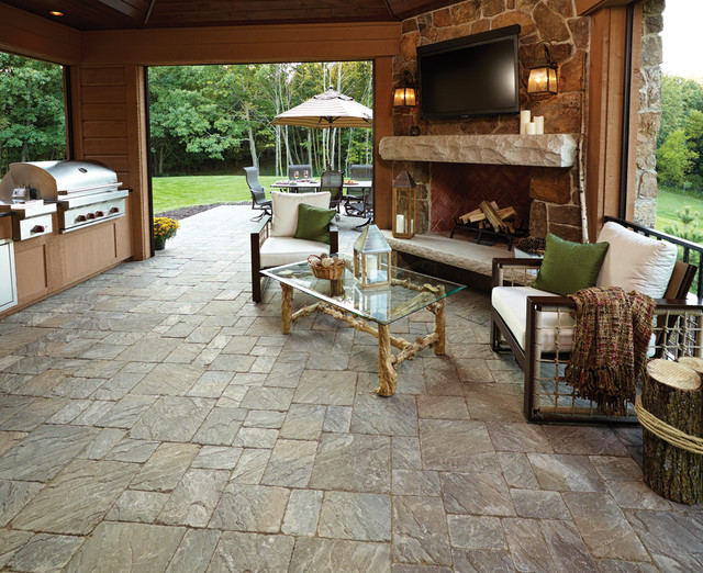 Inside Out Outdoor Kitchen And Living Room Rustic