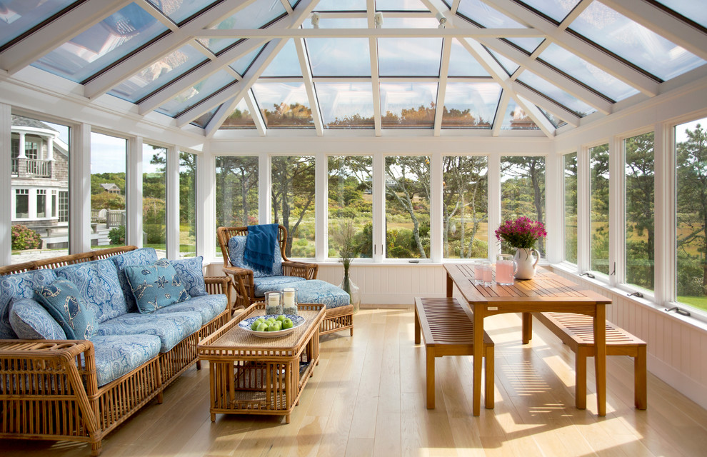 Sunroom - large coastal light wood floor and brown floor sunroom idea in Boston with no fireplace and a glass ceiling