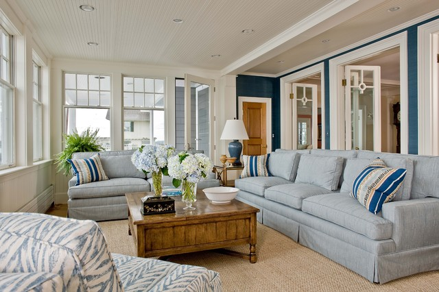 Marblehead coastal home beach style family room for Living room decor ideas houzz